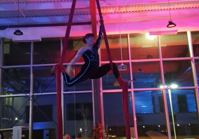 Aerial performer showing off their impressive skills